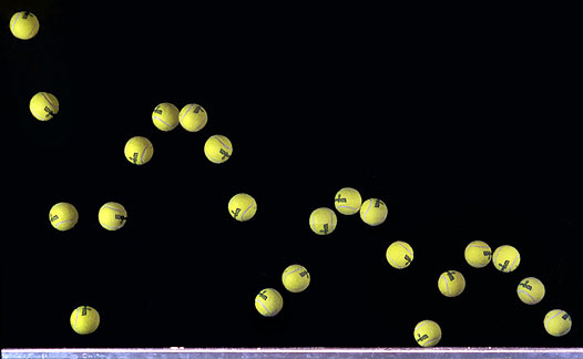 tennis ball gets lower each bounce